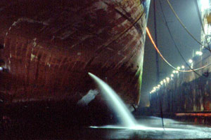 Ballast water release in dock at night - Stephan Gollasch